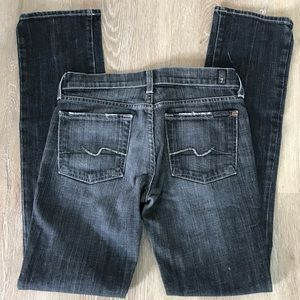7 for all mankind black straight leg jeans